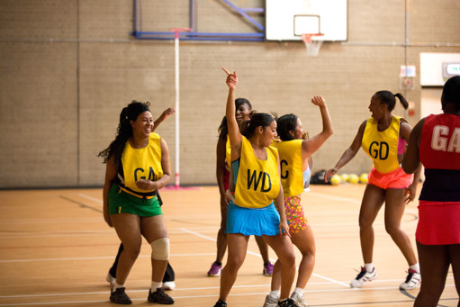 Group of women playing Netball