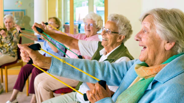 Older ladies doing chair exercises with resistance bands